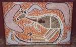 Aboriginal Family Eat Roo - original painting by Bob Sutor